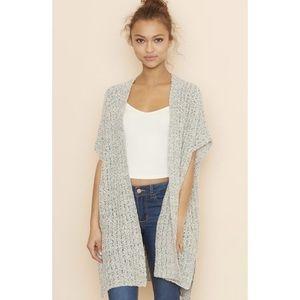 Garage Long Open Knit Gray Vest Cardigan Sweater